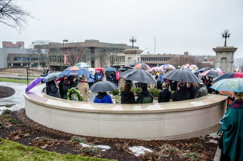 Mourners gather at the Place of Remembrance