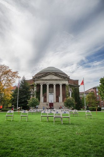 Chairs in front of Hendricks Chapel