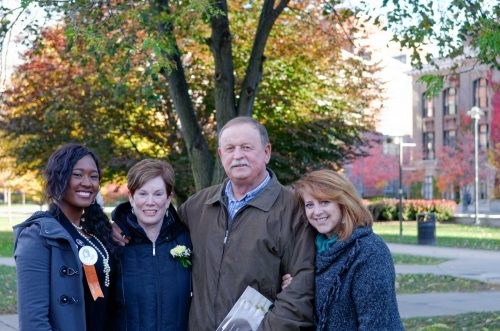Remembrance Week, 2015. From left to right: Cheyenne Cheathem, 2015 Remembrance Scholar representing Karen Lee hunt; Peggy Hunt; Robert Hunt; Lauren Henry, Karen's 1st year roommate.