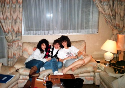 Karen Hunt (right) with roommates, December, 1988