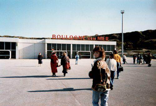 Karen Hunt at hoverport in Boulogne-sur-Mer, 1988