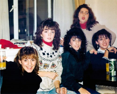 Karen Hunt with friends, December, 1988