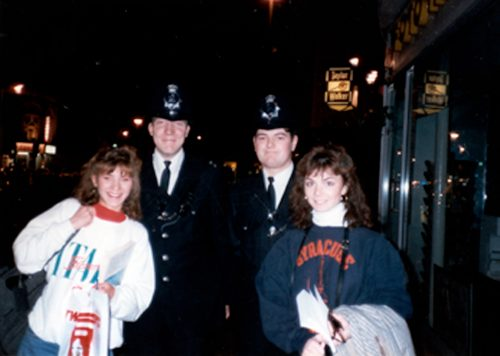 Karen Hunt and a friend with Bobbies, 1988